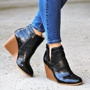 Shoes - Black Croc Wedge V cut Bootie